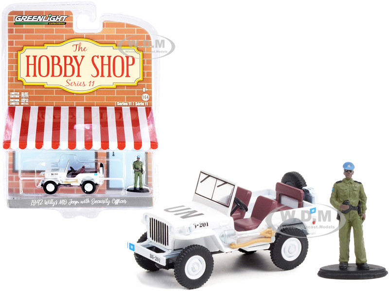 1942 Willys MB Jeep UN United Nations White Security Officer Figurine The Hobby Shop Series 11 1/64 Diecast Model Car Greenlight 97110 A