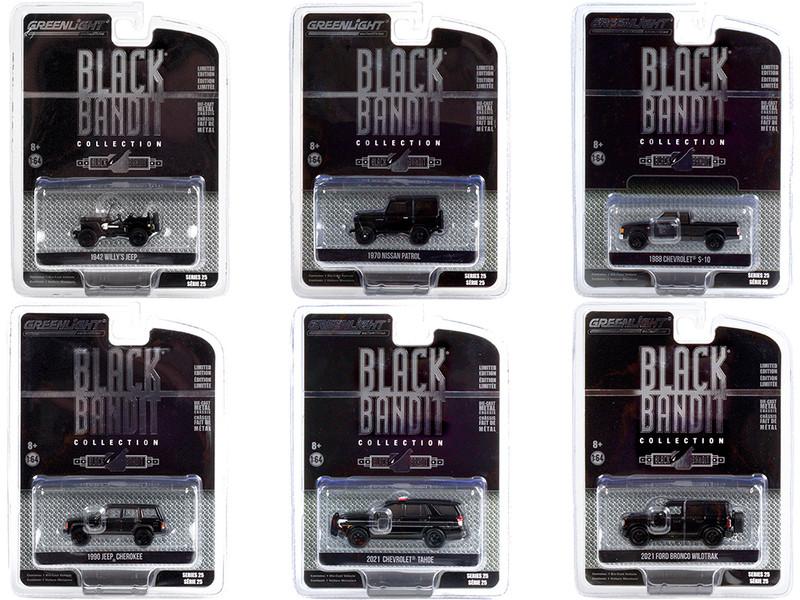 Black Bandit 6 piece Set Series 25 1/64 Diecast Model Cars Greenlight 28070