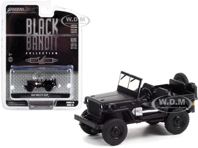 1942 Willys Jeep Black Black Bandit Series 25 1/64 Diecast Model Car Greenlight 28070 A