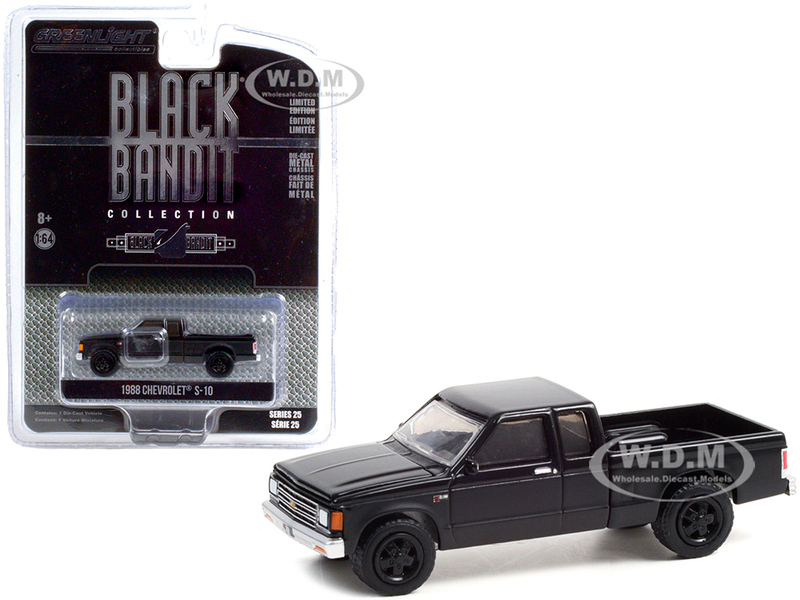 1988 Chevrolet S-10 Extended Cab Pickup Truck Black Black Bandit Series 25 1/64 Diecast Model Car Greenlight 28070 C