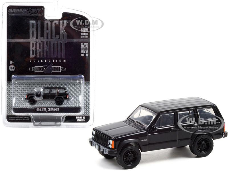 1990 Jeep Cherokee 4x4 Black Black Bandit Series 25 1/64 Diecast Model Car Greenlight 28070 D