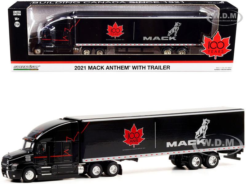 2021 Mack Anthem 18 Wheeler Tractor-Trailer Black Mack Canada 100 Years Building Canada Since 1921 1/64 Diecast Model Greenlight 30301