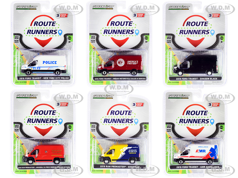 Route Runners Set of 6 Vans Series 3 1/64 Diecast Models Greenlight 53030