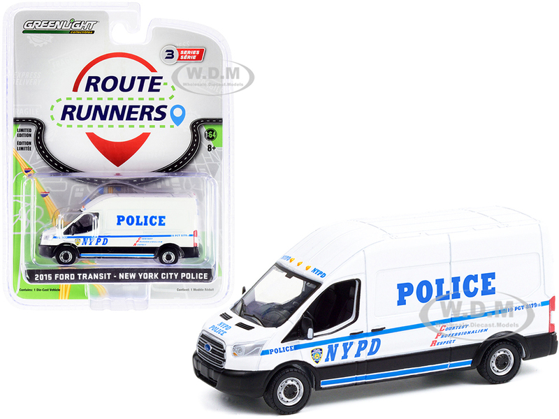 2015 Ford Transit LWB High Roof Van White NYPD New York City Police Department Route Runners Series 3 1/64 Diecast Model Greenlight 53030 A
