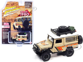 1980 Toyota Land Cruiser Roof Rack Beige White Top Stripes Limited Edition 3600 pieces Worldwide 1/64 Diecast Model Car Johnny Lightning JLCP7364