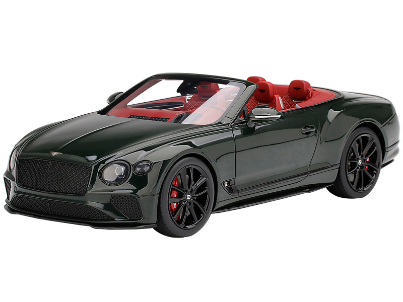 Bentley Continental GT Convertible British Racing Green Red Interior 1/18 Model Car Top Speed TS0290