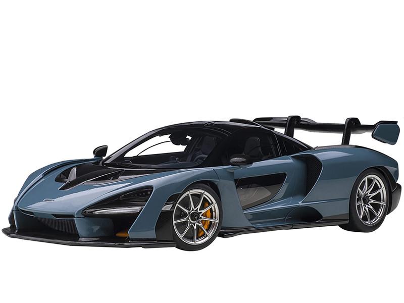 McLaren Senna Vision Victory Gray and Black Carbon Accents 1/18 Model Car Autoart 76077