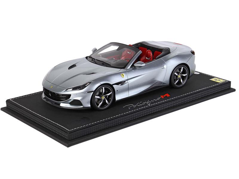 Ferrari Portofino M Convertible Grigio Titanio Gray Metallic Red Interior DISPLAY CASE Limited Edition 99 pieces Worldwide 1/18 Model Car BBR P18193 A