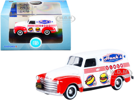 Chevrolet Panel Truck Hanks Country Diner White Red 1/87 HO Scale Diecast Model Car Oxford Diecast 87CV50003