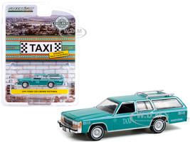 1991 Ford LTD Crown Victoria Wagon Taxi Teal White Stripes Rosarito Baja California Mexico Hobby Exclusive 1/64 Diecast Model Car Greenlight 30225