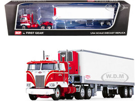"""Peterbilt 352 COE 86"""" Sleeper Cab Red Vintage 40' Reefer Refrigerated Trailer Pirkle Refrigerated Freight Lines 39th Fallen Flags Series 1/64 Diecast Model DCP/First Gear 60-1087"""