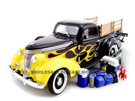 1937 Studebaker Pickup Black/Flames 1/24 Diecast Car Unique Replicas 18565