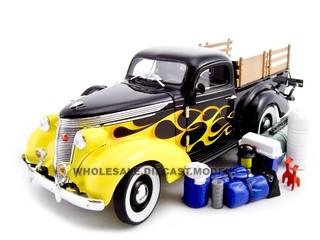 1937 Studebaker Pickup Black/Flames 1/24 Diecast Car Unique Replicas 18565