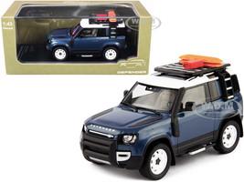 2020 Land Rover Defender 90 2-Door Roof Rack Accessories Tasman Blue Metallic 1/43 Diecast Model Car Almost Real 410702