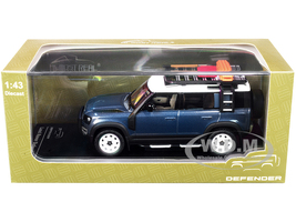 2020 Land Rover Defender 110 4-Door Roof Rack Accessories Tasman Blue Metallic 1/43 Diecast Model Car Almost Real 410802