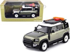 2020 Land Rover Defender 110 4-Door Roof Rack Accessories Pangea Green Metallic 1/43 Diecast Model Car Almost Real 410804