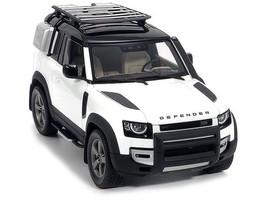 2020 Land Rover Defender 90 Roof Rack Fuji White Black Top 1/18 Diecast Model Car Almost Real 810707