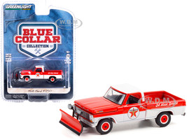 1968 Ford F-250 Pickup Truck Snow Plow Texaco Service Red White Blue Collar Collection Series 9 1/64 Diecast Model Car Greenlight 35200 A