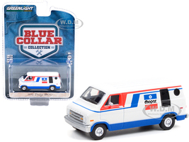 1976 Dodge B100 Van Mopar White Red Blue Stripes Blue Collar Collection Series 9 1/64 Diecast Model Car Greenlight 35200 C