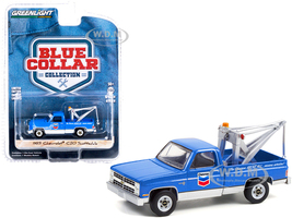 1983 Chevrolet C20 Scottsdale Tow Truck Drop-In Tow Hook Chevron Blue Blue Collar Collection Series 9 1/64 Diecast Model Car Greenlight 35200 D