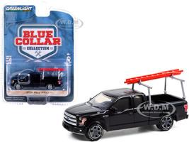 2017 Ford F-150 Pickup Truck Ladder Rack Black Blue Collar Collection Series 9 1/64 Diecast Model Car Greenlight 35200 F