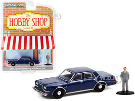 1986 Plymouth Grand Fury Unmarked Police Car Navy Blue Man in Suit Figurine The Hobby Shop Series 11 1/64 Diecast Model Car Greenlight 97110 D