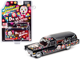 1966 Cadillac Hearse Black Dia de los Muertos Day of the Dead Limited Edition 3600 pieces Worldwide 1/64 Diecast Model Car Johnny Lightning JLCP7373