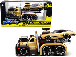 1953 Mack B-61 Flatbed Truck Gold 1970 Oldsmobile 442 Gold Black Top and Stripes Muscle Transports 1/64 Diecast Model Cars Muscle Machines 11536