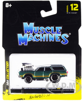 1970 Oldsmobile Vista Cruiser 442 Green Metallic Gold Stripes 1/64 Diecast Model Car Muscle Machines 15556