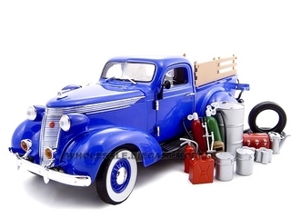 1937 Studebaker Pickup Truck Blue With Accessories 1/24 Diecast Truck Unique Replicas 18561
