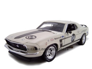 1969 Ford Mustang Boss 302 Racer White #4 1/24 Diecast Car Unique Replica 18658