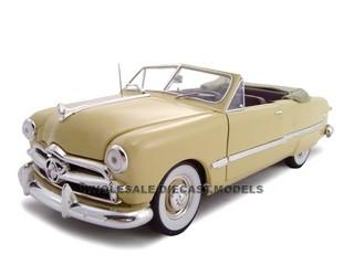 1949 Ford Convertible Convertible Creamy Yellow 1/24 Diecast Model Car Unique Replicas 18583