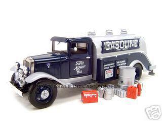 1934 Ford Oil Gasoline Tanker Blue 1/24 Diecast Model Car Unique Replicas 18611