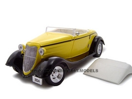 1934 Ford Convertible Custom Yellow 1/24 Diecast Car Unique Replicas 18545