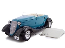 1934 Ford Custom Convertible Blue 1/24 Diecast Car Model Unique Replicas 18540