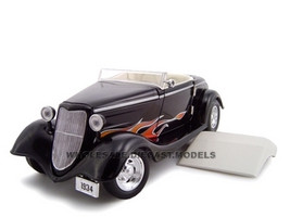 1934 Ford Custom Convertible Black With Flames 1/24 Diecast Car Model Unique Replicas 18541