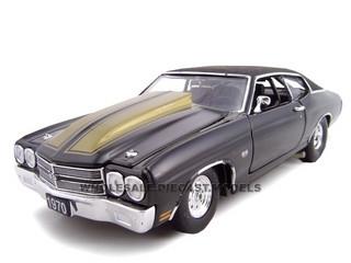 1970 Chevrolet Chevelle Pro Street SS 454 Black 1/24 Diecast Car Model Unique Replicas 18678