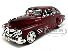 1948 Chevrolet Aerosedan Fleetline Dark Red Metallic 1/24 Diecast Model Car Motormax 73266