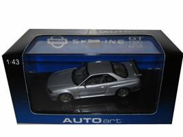 1999 Nissan Skyline GTR R34 Silver 1/43 Diecast Model Car Autoart 57302
