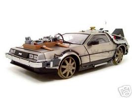 "Delorean From Movie ""Back To The Future 3"" Railroad Time Machine 1/18 Diecast Model Car Sunstar 2714"