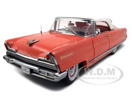 1956 Lincoln Premiere Closed Convertible Island Coral/Red Platinum Edition 1/18 Diecast Model Car Sunstar 4645