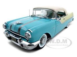 1955 Pontiac Starchief Closed Convertible Blue Platinum Edition 1/18 Diecast Model Car Sunstar 5053