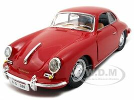 1961 Porsche 356 B Coupe Red 1/24 Diecast Model Car Bburago 22079