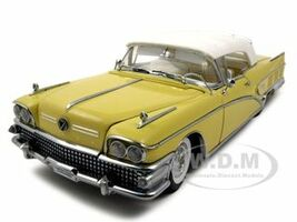 1958 Buick Limited Soft Top Sylvan Grey/Yellow Platinum Edition 1/18 Diecast Car Model Sunstar 4814