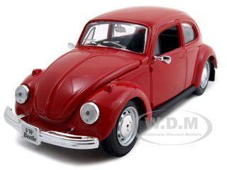 1973 Volkswagen Beetle Red 1/24 Diecast Model Car Maisto 31926