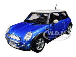 Mini Cooper Metallic Blue White Top 1/24 Diecast Model Car Maisto 31219