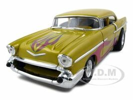1957 Chevrolet Drag Car Yellow With Flames 1/18 Diecast Car Model Hotwheels 21356