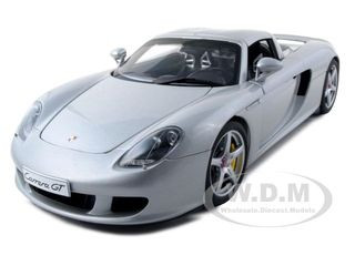 Porsche Carrera GT Silver with Black Interior 1/18 Diecast Car Model Autoart 78046