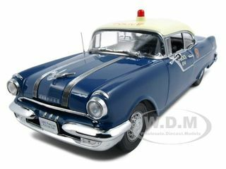 1955 Pontiac Star Chief Police Platinum Edition 1/18 Diecast Model Car Sunstar 5046