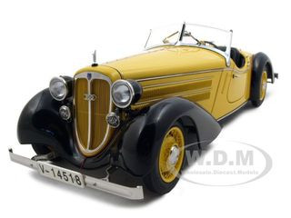1935 Audi 225 Front Roadster Black/Yellow 1/18 Diecast Model Car CMC 075A